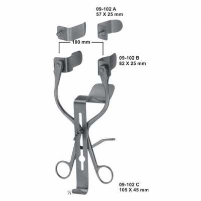 MILLIN Bladder Retractor, complete, with 2 pairs of lateral blades and 1 central blade